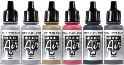 Vallejo Model Air 6x 17ml Set Airbrush Farben Metallic