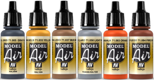 Vallejo Model Air 6x 17ml Set Airbrush Farben Bunt