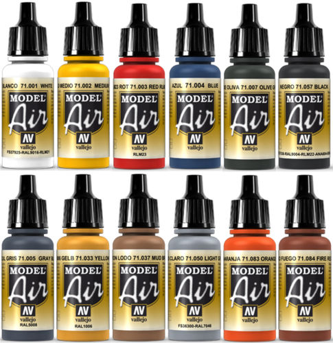 Vallejo Model Air 12x 17ml Airbrush Farben Basis-Bunt