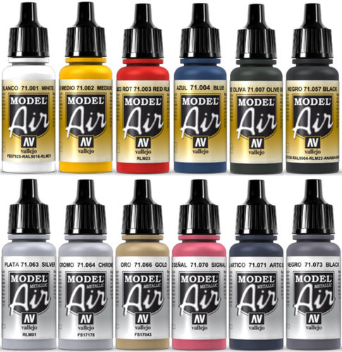 Vallejo Model Air 12x 17ml Set Airbrush Farben Basis-Metallic