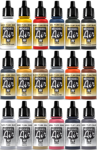 Vallejo Model Air 18x 17ml Airbrush Farben Basis-Bunt-Metallic