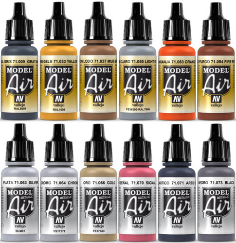 Vallejo Model Air 12x 17ml Airbrush Farben Bunt-Metallic