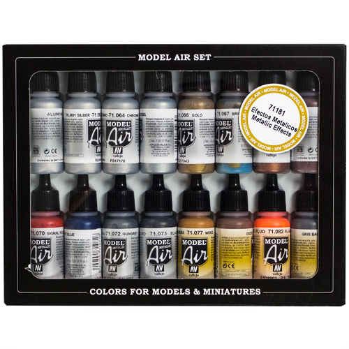 Vallejo Model Air 16x 17ml Airbrush Farben Metallic